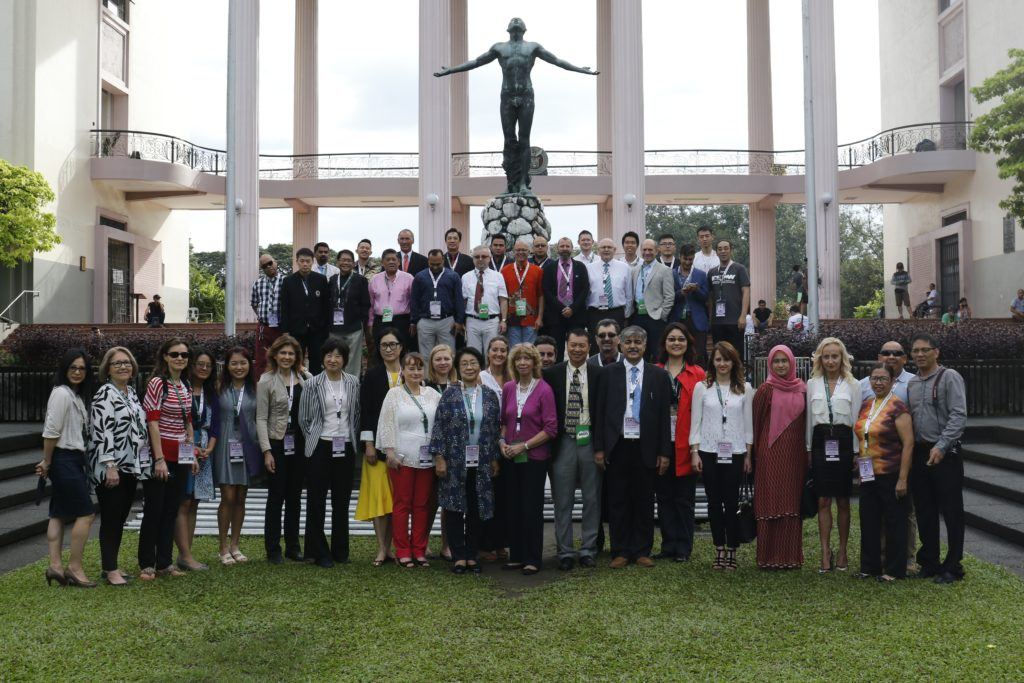Local and foreign speakers at the International Conference on Sport Pedagogy, Health and Wellness 2016, posing in front of the Oblation, UP Diliman, Quezon City