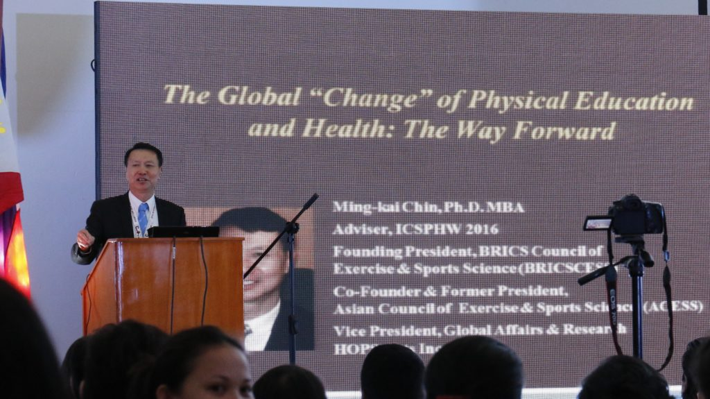 Asian Council of Exercise and Sports Science Co-Founder Dr. Ming-kai Chin speaking in front of the participants